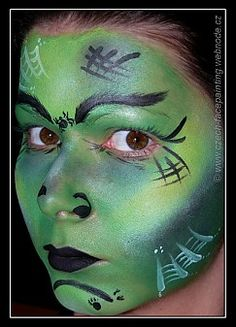 Witch face painting - Molly specifically asked for a green face and eyebrows! Witch Face Paint, Diy Face Paint, Halloween Items, Halloween Kids, Halloween Makeup, Halloween Costumes, Witch Makeup, Clown Faces, Cold Cream
