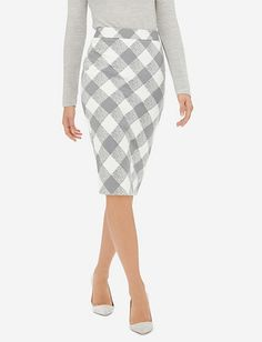 High Waist Check Pencil Skirt from THELIMITED.com