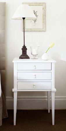 Brilliant White Bedside Table Regarding Edward Hopper With 3 Drawers Metal Runners