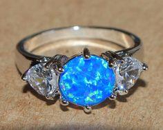 blue fire opal white topaz ring silver jewelry Sz 6.5 modern cocktail wedding Z3 #Cocktail