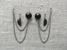 Earstuds for 3 holes / Ørestikkere til 3 huller. Black earstuds and dangle earrings made of steel and gemstone. www.bulowssmykker55.amioamio.com