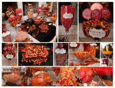 All of the fall colors in these candy buffet photos are rather eye-catching.