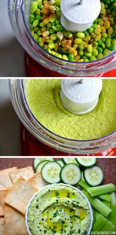 Kick up a classic dip with this quick, easy and healthy recipe for creamy edamame and green pea hummus. Raw Food Recipes, Veggie Recipes, Appetizer Recipes, Salad Recipes, Vegetarian Recipes, Cooking Recipes, Healthy Recipes, Appetizers, Food Nutrition Facts