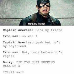 Cap and Bucky Funny Marvel Memes, Dc Memes, Avengers Memes, Marvel Jokes, Superhero Memes, Marvel Dc Comics, Marvel Avengers, Captain Marvel, Marvel Heroes
