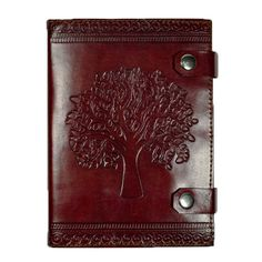 Tree Free Paper and Cruelty Free Leather Hand Embossed Journal Fair Trade | Tree of Life | Great for bullet journals