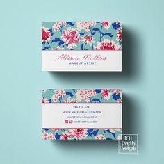 Vintage business card design printable business card design floral business cards botanical greenery essential oils makeup artist spa beauty