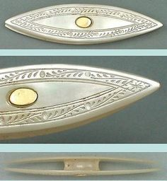 Antique Palais Royal Mother Of Pearl & Gold Tatting Shuttle * Circa 1820