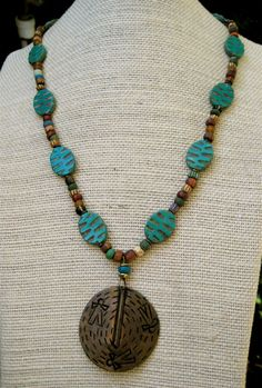 Vintage African Brass Pendant Necklace with by CatchingWaves, $26.00