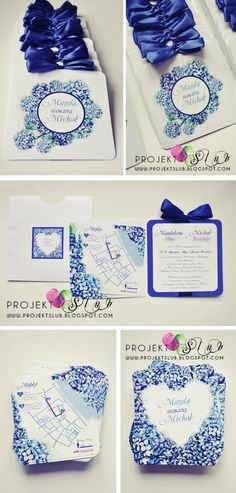 Another one from Projekt Ślub, I really love the shade of blue! Royal Blue Color, Shades Of Blue, Wedding Planning, Wedding Invitations, Container, Scrapbook, How To Plan, Cards, Invitations