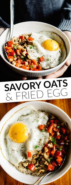 Savory Oatmeal with Cheddar and Fried Egg - perfect breakfast bowl ready in 10 minutes! by @healthynibs