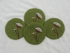 Wool Felted Coasters with a Needle Felted Queen by Susietoos, $32.00