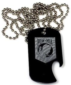 "POW MIA Vet Black Pendant & 30"" Chain Dog Tag Aluminum Bottle Opener EDG-0040"