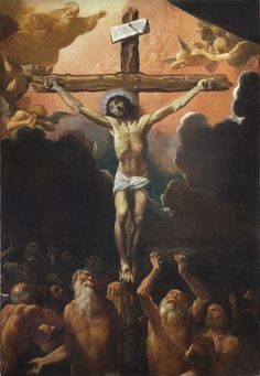 "coriesu:  "" The Crucifixion with the patriarchs to the souls in Purgatory or Limbo  Ludovico Carracci––1614  """