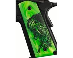 Govt Pearl Ambi Safety Cut- Zombie Green   Hogue Polymer Grip Panels, Ambidextrous Safety Cut