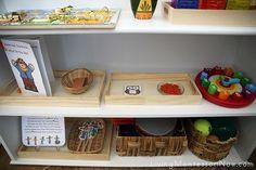 Bottom Shelf-  5 Little Scarecrows tray rhythm instruments ball basket