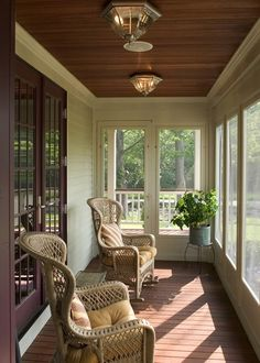 Beautiful enclosed porch...love the ceiling