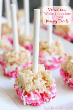 Valentine treat ideas: Valentines White Chocolate Dipped Krispy Pops by High Heels and Grills