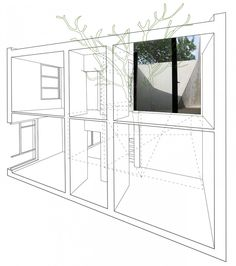 tea house, archi-union architects.  section perspective collage