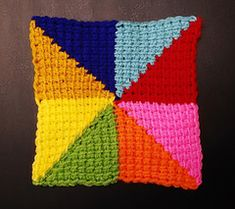 This project employs the Tunisian Simple Stitch. However, the square is small enough that a regular crochet hook can be used. It is perfect for joining to other identical squares to make a larger project, such as a blanket, shawl, or bag. Crochet Hooks, Crochet Baby, Knit Crochet, Yarn Crafts, Diy Crafts, Tunisian Crochet Patterns, Crafts For Kids, Arts And Crafts, Blanket Shawl