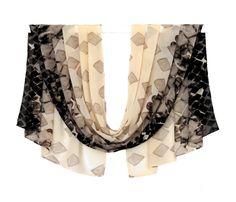 beige scarf long chiffon scarf geometric by AnnushkaHomeDecor