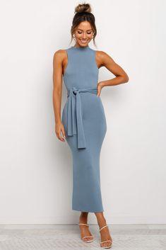 Sexy Formal Dresses, Blue Dresses, Side Split, Ladies Dress Design, Style Guides, Cold Shoulder Dress, High Neck Dress, Model, How To Wear
