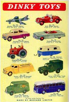 Dinky Toys. My brother had a whole collection of miniature metal cars in a carrying case!