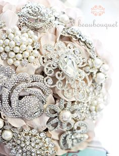 Deposit  Jeweled Bridal Bouquet MEDIUM Size by beauBouquet on Etsy, $150.00