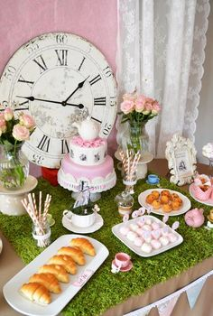 In Wonderland Themed Birthday Party {Ideas, Decor, Cake} Alice in Wonderland party. Perfect for a little girls birthday party or even a bridal shower showerAlice in Wonderland party. Perfect for a little girls birthday party or even a bridal shower shower Lila Party, Tea Party Theme, Birthday Party Themes, Mad Tea Parties, Birthday Table, Party Party, Tea Party Cakes, 1st Birthday Party Ideas For Girls, Tea Party