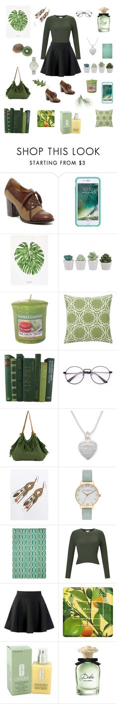 """""""Green with Envy"""" by catherinekate ❤ liked on Polyvore featuring Restricted, Griffin, Yankee Candle, Pottery Barn, Caravana, Tiffany & Co., Olivia Burton, Momeni, Miss Selfridge and Jo Malone"""