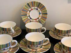 GIEN France Taffetas  Multicolor Tassels Design Cups and Saucers Set of 6 #Gien Cup And Saucer Set, Tassels, Cups, Pottery, France, Plates, Tableware, Design, Ceramica
