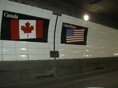 """Detroit Windsor Tunnel: Tunneling under the river you'll find this as you cross the """"border"""" that connects Windsor, Ontario (Canada) to Detroit, Michigan (US)"""
