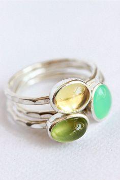 Gemstone stacking rings, sterling silver