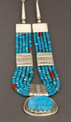 Wayne Aguilar Necklace of Turquoise and Silver (Santo Domingo)