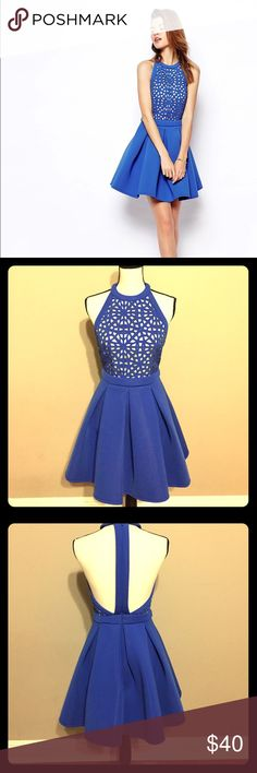 """ASOS Premium Cutwork Skater Dress Gorgeous ASOS Premium Royal Blue Cutwork Skater Dress in US Size 4/UK 8.  This item was worn once.  The material is made out of polyester elastane (similar to scuba wetsuit but very airy, flexible, & light).  34.5"""" from neck to hem. ASOS Dresses Midi"""