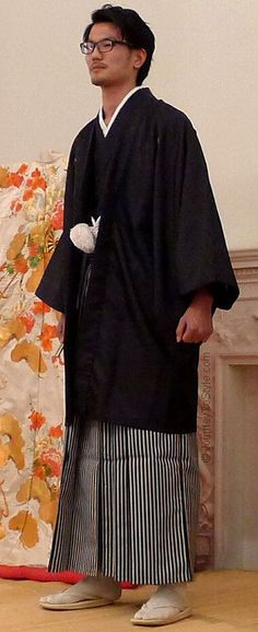 Japanese wedding: the groom's formal attire is called 'montsuki' and comprises kimono, hakama and haori.