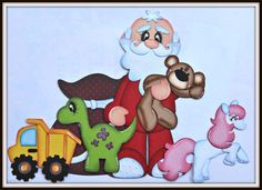 Elite4u Santa's Toys Paper Piecing for Premade Scrapbook Page Layout Christmas