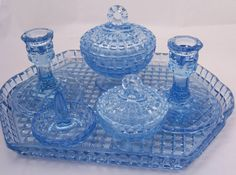 Image detail for -Vintage Art Deco, Depression Blue Glass Dressing Table Set , 6 pieces . Love Vintage, Vintage Art, Vintage Dishes, Glass Vanity, Vanity Set, Cut Glass, Glass Art, Antique Vanity, Vintage Vanity