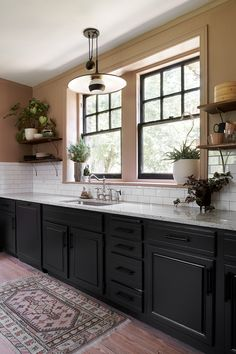 Before & After: A Kitchen Adds Function and Beauty – Design*Sponge Black Kitchen Decor, Home Decor Kitchen, New Kitchen, Kitchen Design, Pink Kitchen Cabinets, Kitchen Paint, Kitchen Queen Cabinet, Pink Kitchen Walls, Layout Design