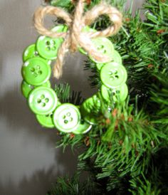 Sewers, Quilters, Seamstress Lovers Christmas Tree - Sewing themed christmas ornament -hot glue buttons into shape of a wreath