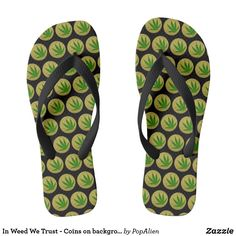 034f4d1e13ee8 In Weed We Trust - Corners one background color Flip Flops Colorful  Backgrounds