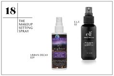 Urban Decay All Nighter Long Lasting Setting Spray, $29, available at Macy's; E.L.F. Makeup Mist & Set, $3, available at Target.