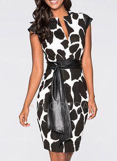 Dresses - $42.31 - Polyester Leopard Cap Sleeve Above Knee Elegant Dresses (1955108581)