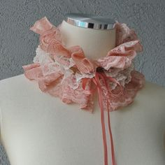 Victorian Inspired Tangerine And  Ivory Lace And Ribbon Ruffle Collar Necklace Cowl Statement Piece. $28.00, via Etsy.