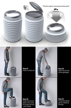 Coolest Trash Cans & Bins - bin trash, trash can bins Armstrong Bin - Great idea, I hate having to touch the trash itself when I squash it all.Armstrong Bin - Great idea, I hate having to touch the trash itself when I squash it all. Trash Disposal, Bokashi, Trash Bins, Trash Containers, Garbage Can, Cool Inventions, Recycling Bins, Cool Stuff, Industrial Design