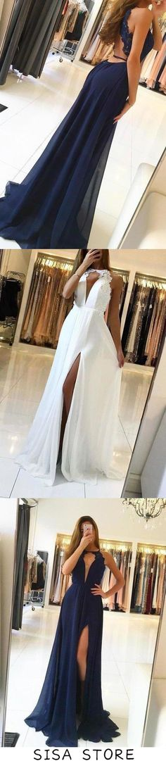 2019 Halter Chiffon Prom Dresses A Line With Applique Open, This dress could be custom made, there are no extra cost to do custom size and color Prom Dresses Blue, Wedding Dresses, Affordable Prom Dresses, Simple Prom Dress, Sweetheart Prom Dress, Elastic Satin, Fabric Swatches, Special Occasion Dresses, Bell Bottom Jeans