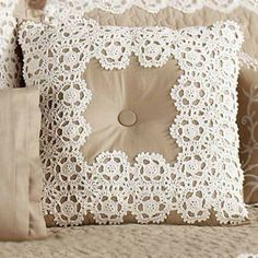 Antiquity Tufted Square Pillow in Latte, 18 Square, from Touch of Class. For the guest bedroom. Crochet Bedspread, Crochet Cushions, Crochet Pillow, Crochet Motif, Crochet Patterns, Crochet Cushion Cover, Diy Cushion, Bow Pillows, Sewing Pillows