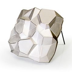 David Choi - White Facets Brooch - Contemporary jewelry - Faceted Sterling Silver