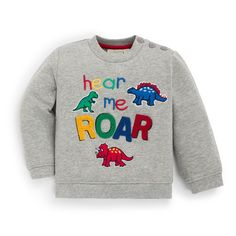 A colorful graphic lets your little one steal the show in this soft cotton sweatshirt designed for chilly days.Full graphic text: Hear me cottonMachine washImported Kids Outfits Girls, Toddler Outfits, Baby Boy Outfits, Toddler Fashion, New T Shirt Design, Shirt Print Design, T Shirt Citations, Stitch Fix Kids, T Shirt Painting