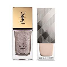 Vernis à ongles Savage Pink d'Yves Saint Laurent, 23 euros et vernis Stone de Burberry, 19 euros