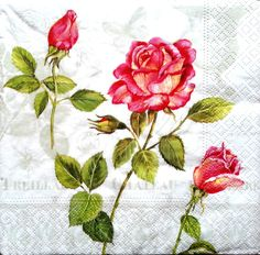 4 Single Vintage Table Paper Napkins, Lunch, for Decoupage, Rose Red, Decopatch